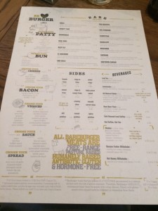 Bare Burger Menu